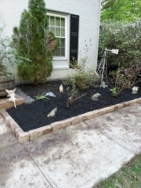 <h5>Border and Mulch After</h5><p>We redid the front garden with a basic masonry border and mulch. This is the finished product.																																																																				</p>