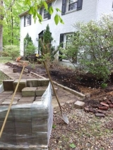 <h5>Border and Mulch - During</h5><p>Mid construction on the garden box. 																																		</p>