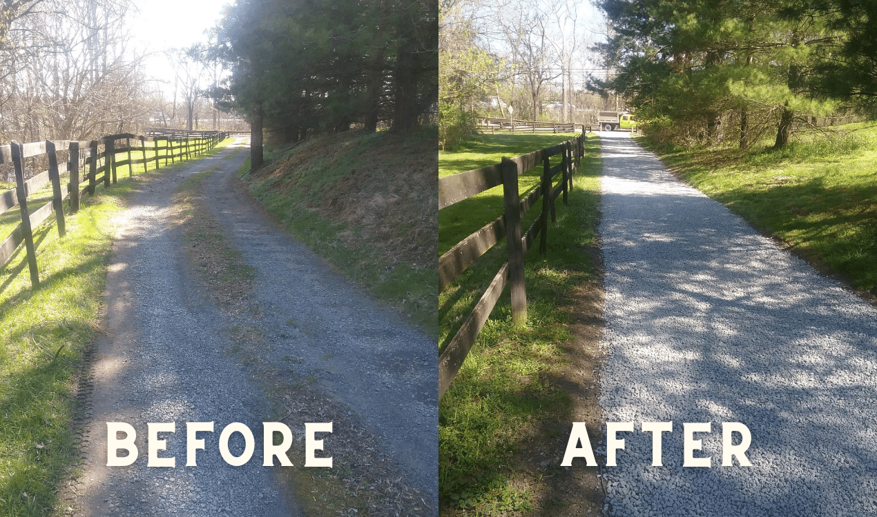 gravel driveway before and after showcase